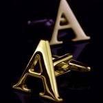 Буква А золотая Запонки