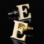 Буква Е золотая Запонки