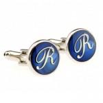 Буква R синяя Запонки
