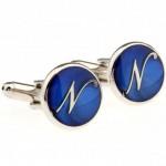 Буква N синяя Запонки