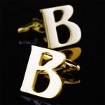 Буква В золотая Запонки