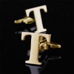 Буква Т золотая Запонки