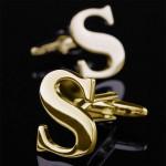 Буква S золотая Запонки