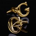 Буква G золотая Запонки