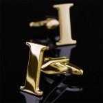 Буква I золотая Запонки