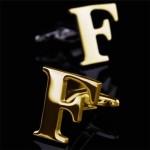 Буква F золотая Запонки