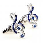 Ключ из кристаллов скрипичный Запонки