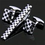 Шахматный узор набор Запонки и зажим для галстука