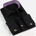 Черная рубашка под запонки