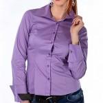 Сиреневая рубашка под запонки